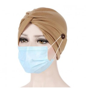 1pc Women's wearing mask bandana turban head scarf with button Arab women head scarf