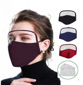 2 reusable face mask cotton protective integrated face mask full face protective clear eye protection shield face screen mouth masks