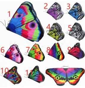 2PCS belly dance Halloween rainbow Butterfly wings capes Cloak for kids drama cosplay Butterfly wings for Event Ball party Decoration