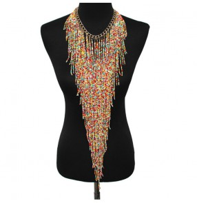 2PCS Bohemian personality body necklace long beaded tassel necklace ethnic performance evening party jewelry for female
