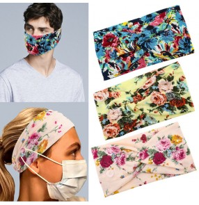 2PCS floral sports yoga workout sweat absorb headband wearing face masks elastic headband turban with button for unisex Bandeau