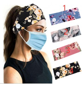 2pcs Printed floral headband for wearing face masks yoga sports workout cycling sweat absorb headscarf headband for women