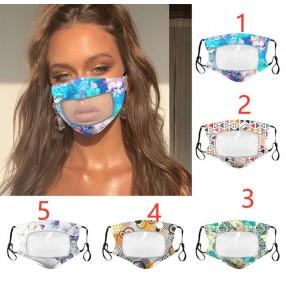2pcs reusable face masks floral transparent visible mouth masks anti-fog protective lips mouth masks for unisex