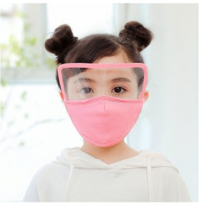 2pcs reusable face masks for kids cartoon bear pattern cotton with clear eye protection shield Pm2.5 proof mouth mask for boys girls