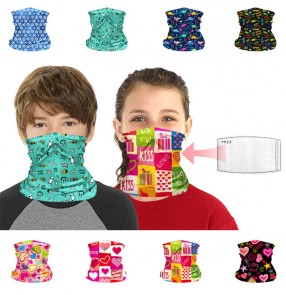 2pcs reusable face masks for kids cartoon scarf mask riding outdoor turban pm2.5 dust proof protective mask for girls boys