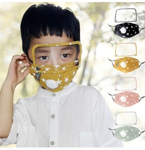 2pcs Reusable face masks for kids cotton cartoon mouth mask eye protection dust pm 2.5 proof clear shield isolation valved mouth mask for boys girls