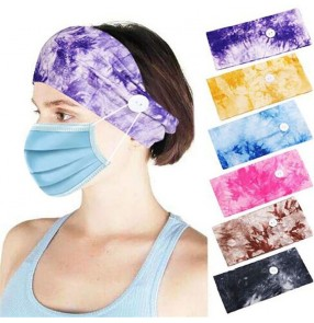 2pcs turban headband with button for wearing face mask yoga sports running cycling seat absorb elastic headband for unisex