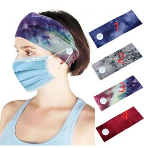 2pcs wearing mask turban elastic headband sports running cycling yoga sweat absorb head band with button for unisex