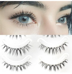 3pack Japanese style sharpened false eyelashes Natural cross Eyelashes on transparent stems 5pairs in one pack