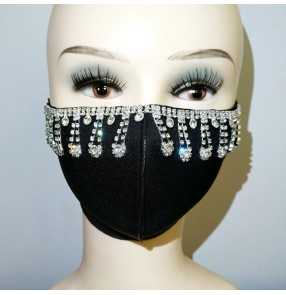 3PCS bling black reusable face masks for unisex fashion stage performance party photos shooting washable mouth masks