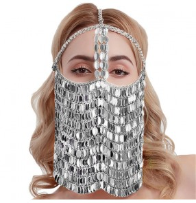 3PCS Bling face masks belly dance Masquerade mask party alloy jewelry stage costume cosplay performance costume metal mask