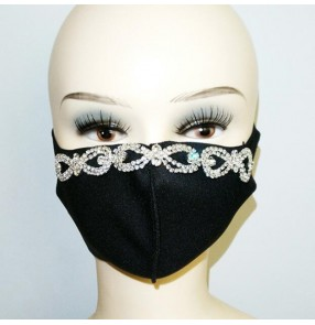 3PCS Bling reusable face masks for unisex fashion night club party stage performance photos shooting diamond pattern mouth mask
