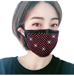 3pcs bling Reusable face masks for women fashion pole night club jazz dance glitter dust proof protective mouth mask for female