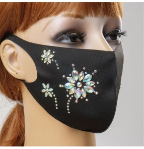 3PCS bling rhinestones flowers reusable face masks for women photos video shooting night club party performance mouth masks for female