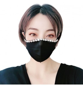 3pcs Bling rhinestones reusable face masks for women fashion night club stage performance party protective mouth mask for female