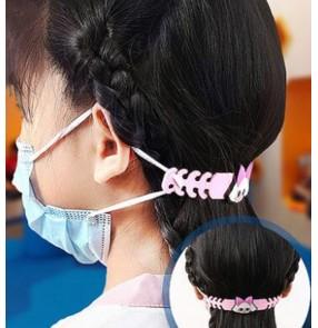 3pcs Cartoon pvc face masks extension strap for kids children face mask belt with adjustable length mask hook for boy girls