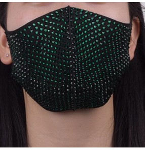 3pcs Dark green rhinestones bling reusable face masks for unisex party photos video shooting night club dance performance protective mouth masks for unisex