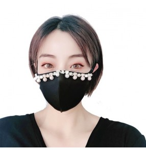 3PCS fashion reusable face masks for women bling glitter beads night club pole outdoor protective mouth mask for female