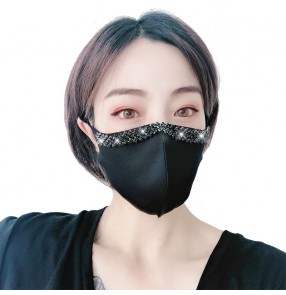 3pcs Fashion rhinestones reusable face masks for women dust proof riding outdoor sports night club party protective mouth masks