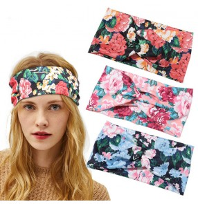 3pcs flowers sweat absorb headband for yogo fitness workout running cycling sports elastic magic head scarf turban for unisex