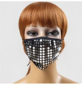 3pcs Glitter fashion reusable face masks for unisex stage performance party photos video shooting protective paillette mouth masks for female