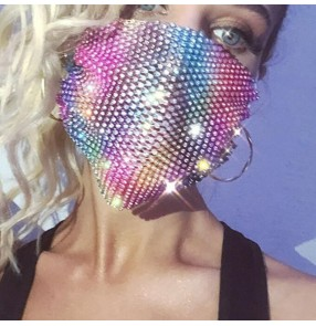 3PCS hollow bling face masks for women fashion rhinestones mask night club pole dance party photos vedio shooting mouth masks for female