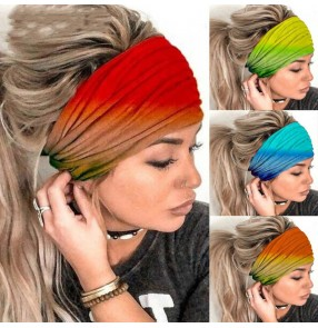 3pcs Rainbow gradient yoga sports fitness wide headband wash face beauty elastic hairband for women