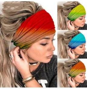 3pcs Rainbow gradient yoga sports fitness wide headband wash face beauty elastic hairband for women
