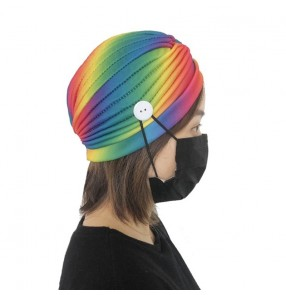 3pcs Rainbow indian style turban hat with button wearing face mask for women yogo sports headband beauty wash face turban hat for female