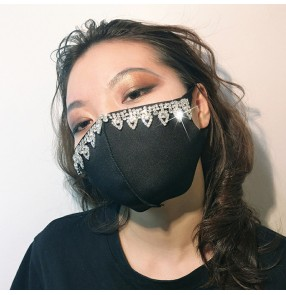 3pcs reusable face masks for unisex rhinestones bling pattern hiphip street dance party photos shooting performance mouth masks for women and men