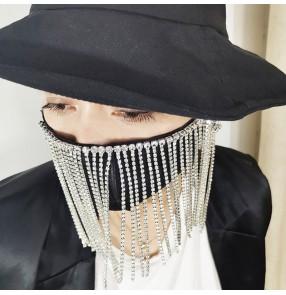 3PCS reusable face masks for women men black face mask with long diamond fringes party performance belly pole dance veil mask