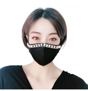 3PCS Reusable face masks for women rhinestones dust proof mouth mask for party night club bar dance