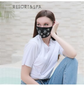 3pcs Rhinestones bling reusable face masks for women fashion party night club dance model photos shooting masquerade mouth mask for female