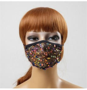 3pcs sequin lace fashion Reusable face masks for women breathable party performance photos shooting bling mouth masks for female