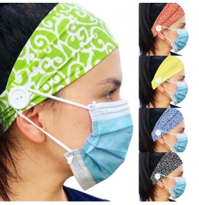 3pcs yoga sports fitness sweat absorb headband outdoor running cycling elastic turban wearing face mask ear relax with headband with button for unisex