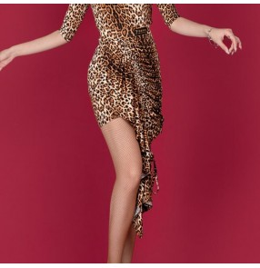 Adult Latin Dance Costume Leopard Drawstring Skirt Sexy Asymmetrical Practice Skirt for female