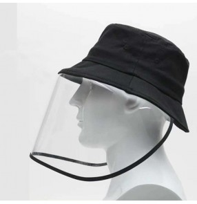 anti-spray saliva direct splash Black fisherman's caps with pvc clear face shield for unisex outdoor anti-uv protective hat for women men