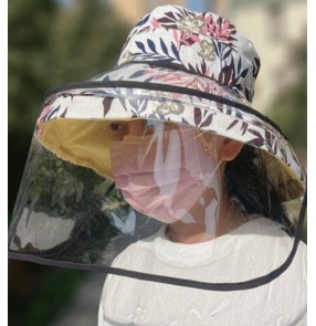 Anti-spray saliva direct splash fisherman's hat with face shield leaves printed outdoor anti-uv protective hat for female