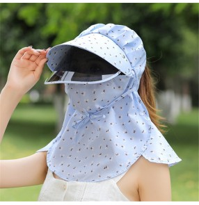 Anti-uv summer sun hat with full face cover mask with face shield neck guard sun protection riding cycling outdoor sports beach protective visor cap