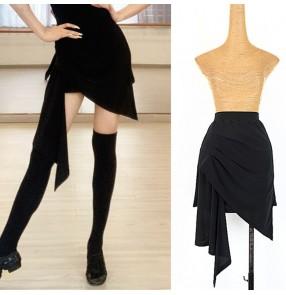 Black irregualr hem latin dance skirts for women girls stage performance exercises dance skirts with leotard shorts