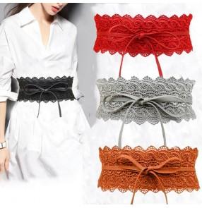 Black Wide Corset Lace waistband Belt Female Self Tie Obi  Cinch Belts for Women Wedding evening Dress Waist Band