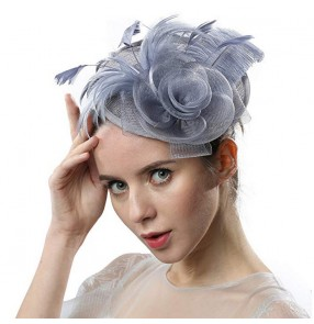 British dinner fascinators hat ladies court feather hair accessories Jockey party catwalk dress cheongsam headdress church hats