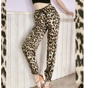 Casual fashion leopard pants for women girls latin hiphip street dance trousers yoga sports pants for female