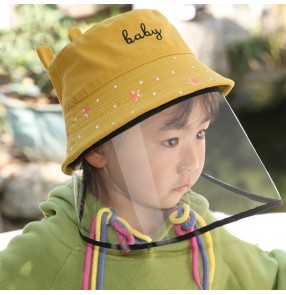 Children anti-spray saliva cartoon fisherman's cap with clear face shield dust proof anti-uv protective sun hat for boy and girls