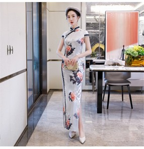 Chinese dress floral qipao dress traditional classical cheongsam for evening party model show drama cosplay dress