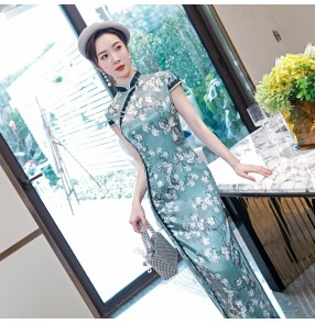 Chinese dress retro qipao dress traditional class oriental miss etiquette show performance shooting cosplay cheongsam dress