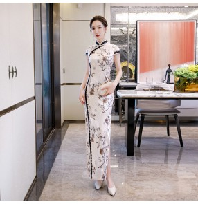 Chinese dress traditional retro qipao dress floral evening party dress shooting model show drama cospaly chonesam dress