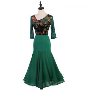 Dark green velvet flowers ballrooom dancing dresses stage performance ballroom tango waltz dance costumes for female