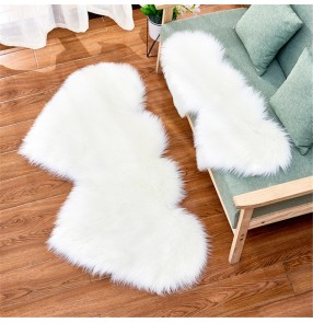 Double heart shaped Plush Carpet Fashion European Style Floor Mat Blanket Sofa Cushion Foot Pad