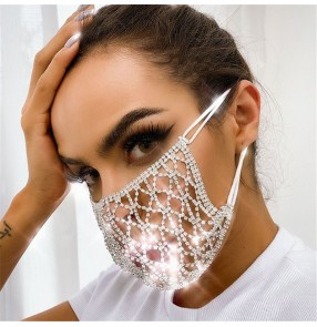 Fashion bling reusable face masks for female night club stage performance party photos shooting rhinestones hollow mouth masks
